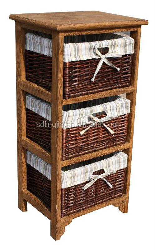 Basket Weaving Hobby Lobby : Vintage brown drawer wicker basket wood cabinet