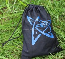 portable black drawstring cotton bag