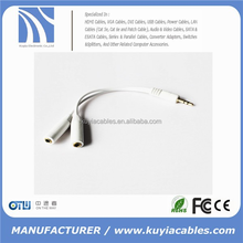 factory price 3.5mm Stereo Headphone Audio Jack Y cable Male to Dual 2 Female Double stereo Y Splitter Cable Adapter