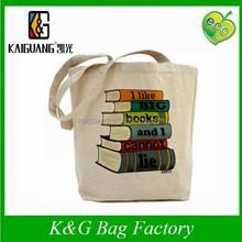 Fashion cotton canvas eco bag Big Books Tote Bag with long handle