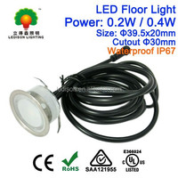 12V DC LED Underground Bulb Light 0.4W Diameter 40mm Waterproof IP67 Stainless Steel CE SAA Approved