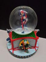 hockey players resin snow globe