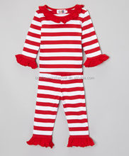 bulk wholesale girls christmas clothes sets lovely children's red striped ruffle chistmas outfits baby xmas sets