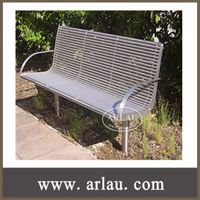 FS19 Arlau Outdoor Furniture Stainless Steel Benches Series Back and Armrest Benches