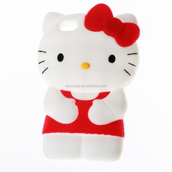 High quality 3d Cute Hello Kitty Cat Soft Silicone Rubber Gel Case Cover Skin for iphone 4 4s Lovely Cell Phone Cases Covers