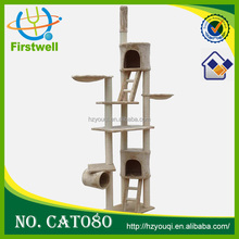 High cat tower three-layer short fleece cat trees with can shape house, cat traning toys
