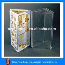 Most popular eco-friendly desktop clear acrylic crystal plexiglass 3 sides pop up menu display stand/holder