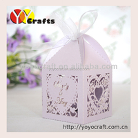 weddding box laser cut wedding cupcake packaging boxes with free Ribbon from YOYO Crafts wholesale and retail