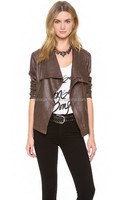 Big collor women leather jacket cheap price 2015 spring new design washed pu jacket