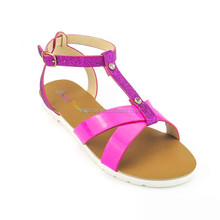 PVC sole Guangdong manufacturer bright colors open toe ankle strap lady sandal with charms