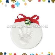 Chrismas bebé arcilla huella de la mano ornamento venta al por mayor del bebé arcilla