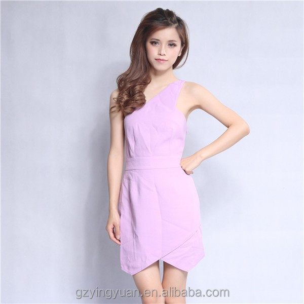 فساتين عارضة الجملة نقية اللون قصيرة الأكمام الفساتين الطرف، الفتيات ارتداء السببية