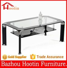 2014 modern two layers coffee table with temperd glass table top and aluminium alloy feet living room furniture