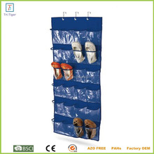 Over the door fabric and PVC 24 pocket hanging shoe organizer