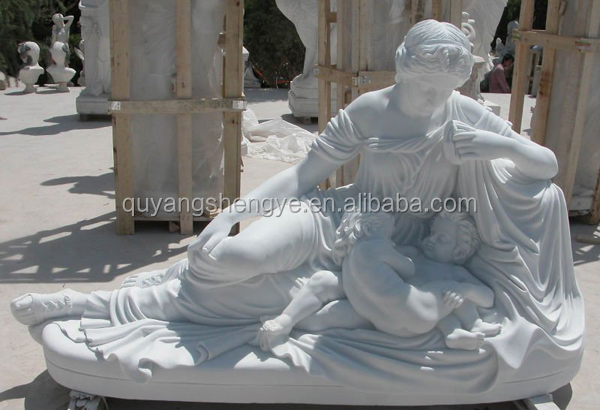antique white marble lady with children statues