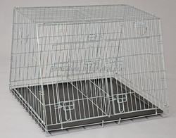 2015 High quality !! double door durable and good quality colorful dog cage pet house dog kennel with plastic tray