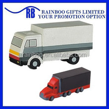 Hot selling Eco-friendly logo printed cheap truck shape pu foam stress toy for promotion