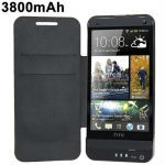 3800mAh Cubic Texture Power Bank Battery Charger Case with Front Leather Cover for HTC One / M7