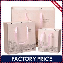 Factory price custom Carrying Paper Bag for gift, Carrying Paper Bag with ribbon handle