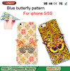 custom blu phone case Soft TPU 3D Butterfly smart phone case for iphone 5 5S