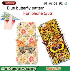 custom blu phone case Soft TPU 3D Butterfly smart phone case for iphone 5 5S