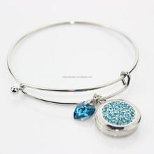 Hot Blue Crystal Snap Button Jewelry Bracelet ,Expandable Wire Bangle Bracelet