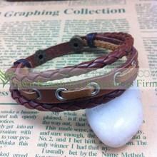 Antique handmade leather braided bracelet multi wrap new design leather bracelet for unisex stock