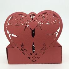 2015 Laser Cut Paper Red Love Birds Heart Irregular Shape sweet box,Chocolate packaging box,European candy box wholesale