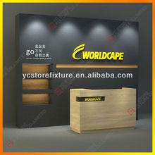 Company image cashier counter metal sports display racks
