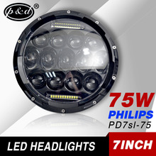 "Factory supply 75w 7"" round led headlight assembly for jeep wrangler"