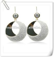 sliver dull polish round modern design earring