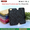 Flip leather mobile phone case Metal frame drill holster wallet case for iphone5 5S 5G