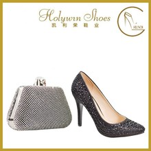 black upper rhinestone decoration comfortable lining women evening shoes pumps best high heels with vening bag