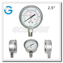 High quality all stainless steel bottom type hydraulic and pneumatic gauge