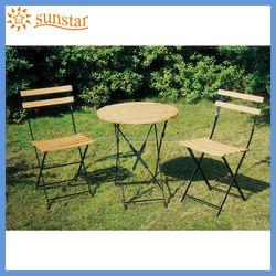 Outdoor Furniture Set / Folding Steel Frame Teak Slat Wood Garden Chairs and Table L82801