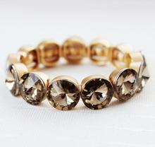 2015 Newest Fashion Gold Metal Glass Stone Elastic Bracelet