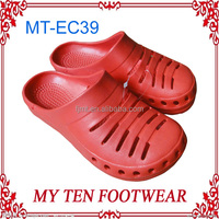 Ladies Red Light Weight Holey Soles Clog