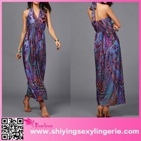 Fashion Wholesale Purple Peacock Print Plunging Halter Maxi Evening Dresses From Dubai