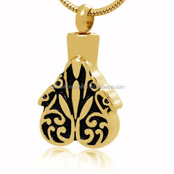 Most Popular Fashion Funeral Casket Jewelry Wholesale 18K Gold Plated Stainless Steel Flower Shape Cremation Urn Pendant For Pet
