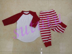 Baby clothes christmas tunic pajamas christmas pajamas family red and white stripe pant set wholesale smocking baby clothes