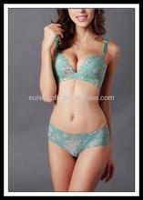 ladies flower printing 70B 75B 80B 85B push up underwear women one piece bra and panties