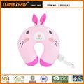 Suport del cuello de los animales en forma de u almohada niños/linda rosa rabit niños microesferas almohada de viaje