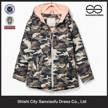 Wholesale Cheap Kid Zip Up Hood Camouflage Knee Length Winter Jacket For Girls