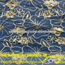 yjc16205 padrão de flor de poliéster tecido tule bordado