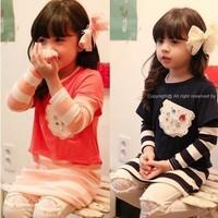 Korean girls outfits T-shirt+primer shirt stripe with Nail drill fashion orange/blue 5pcs/lot