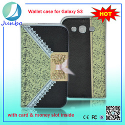 Fashionable flip wallet fancy cover for samsung galaxy s3