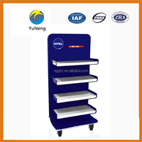 Customized services for the blue metal cosmetic display, cosmetic display casters