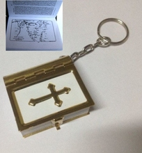Embossed Cross MINI Bible Keychain