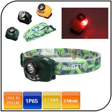 250 lumen 3 mode AAA battery induction hunting head torch sensor headlamp