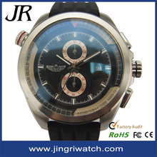 Fashion luxury brand watch big size man watch with stainless steel watch silicone band waterproof